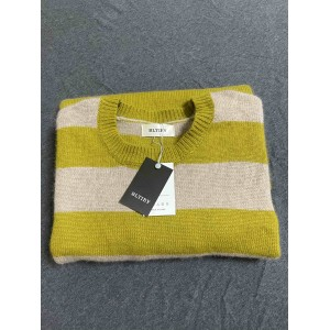 BLTIBY Women Sweaters Long Sleeve Crew Neck Color Block Striped Oversized Casual Knitted Pullover Tops