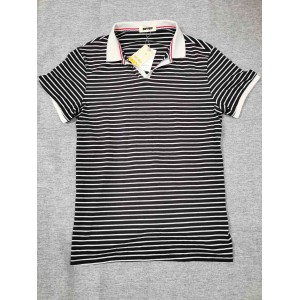 BDVQIP Black and white striped lapel short sleeve ...
