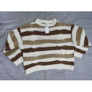 Yoeyez Women's striped pattern knit top round neck long sleeves