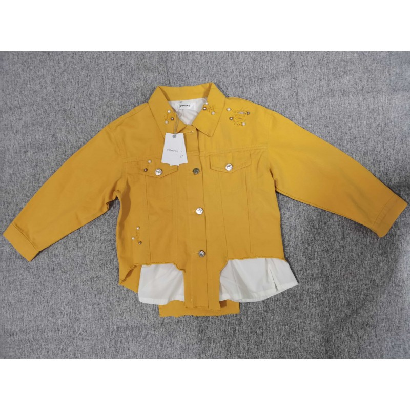 Yoeyez Kids Girls Clothes Yellow Denim Top Jacket Long Sleeves Buttons Thick Coat Autumn Outwear
