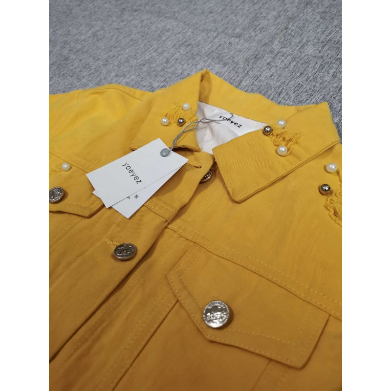 Yoeyez Kids Girls Clothes Yellow Denim Top Jacket Long Sleeves Buttons Thick Coat Autumn Outwear