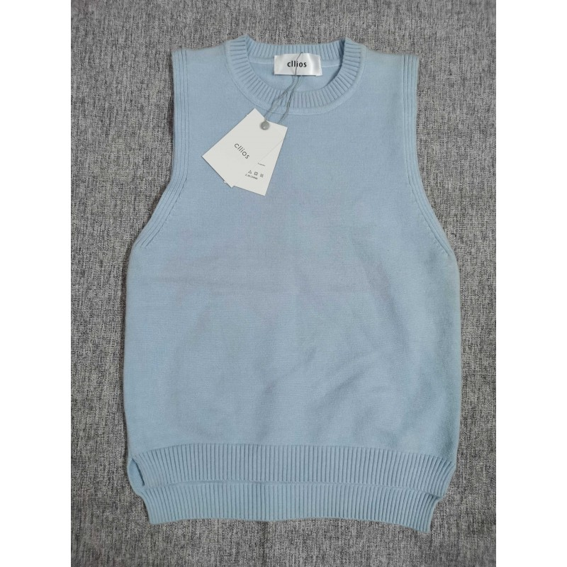 Cllios Children's knitted vest blue front and back asymmetrical style