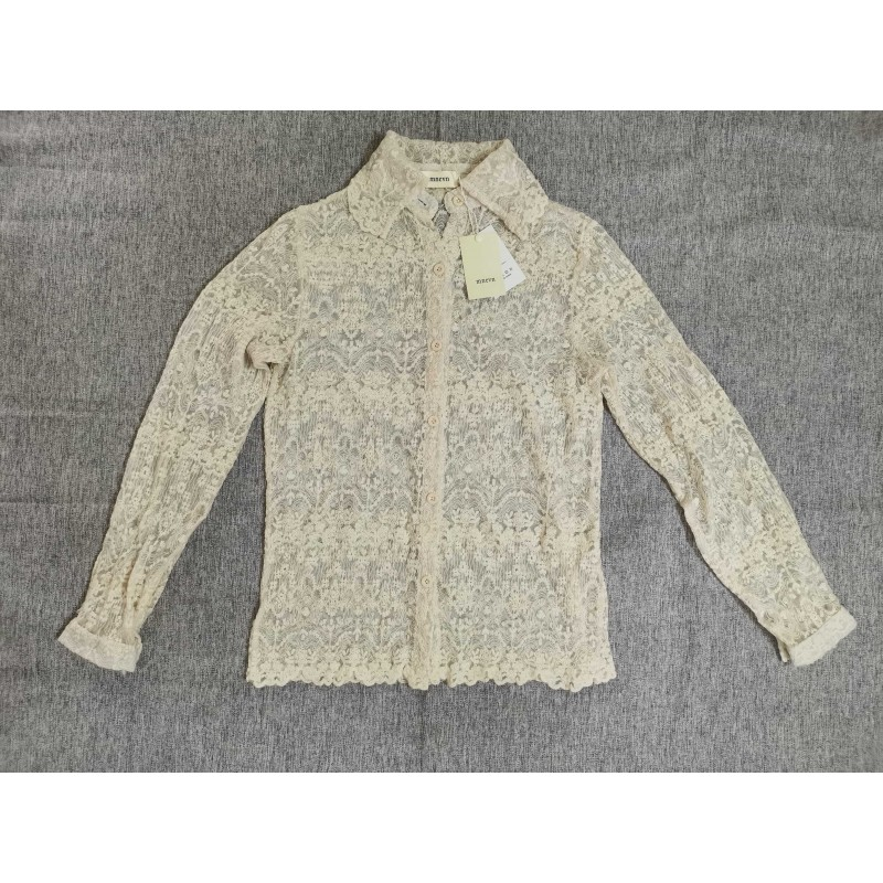 Mnevn Women's lace fabric long-sleeved lapel button top blouse