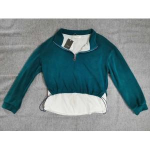 Ctdiral Women's blouse, zipper, lapel, long sleeves, back, lettering