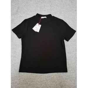 Aizongk Ladies pure black round neck short sleeve ...