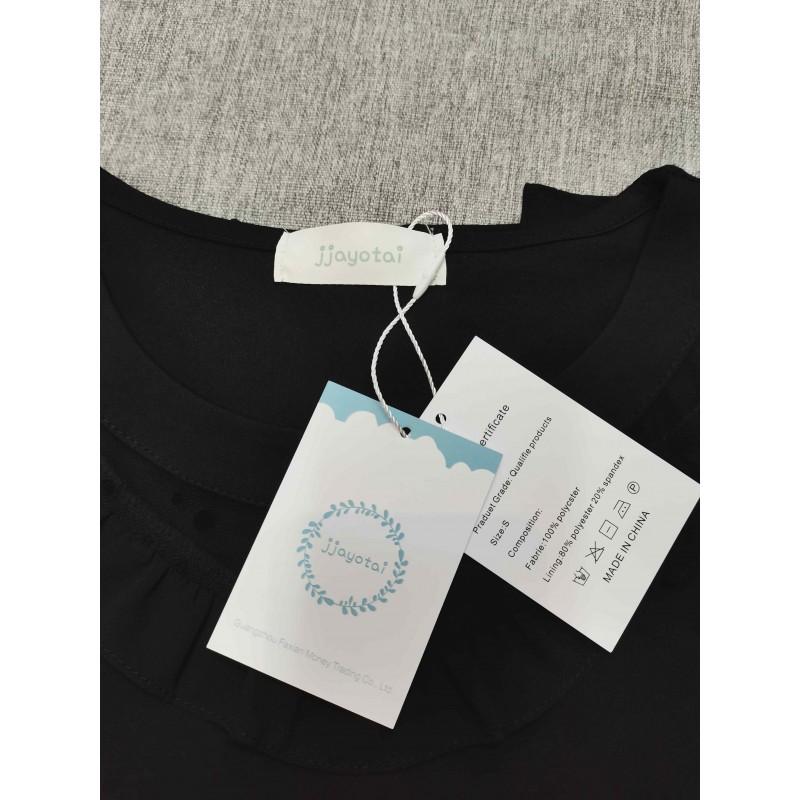 jjayotai Women's Round Collar Short Sleeve Tops T-Shirt Black