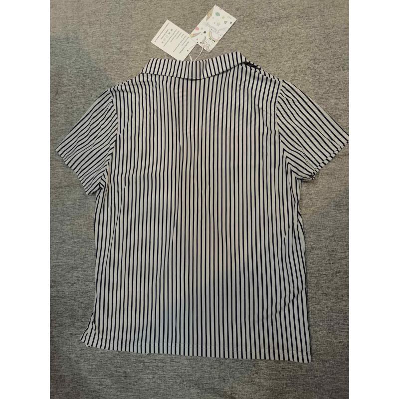 KkSLirnhs Women's Tops Blouses Short Sleeve Striped Work Dress Shirt
