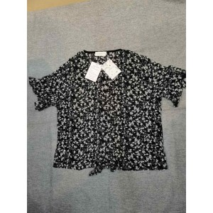 LFEOOST Women Short Sleeve Floral Pattern Blouse