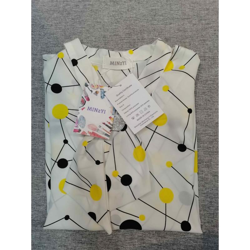 MINzYI Women's Polka Dots Short Sleeve Tunic Tops Summer Casual Blouse Shirt