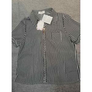 Ruroz Women's Tops Blouses Short Sleeve Vertical Striped Button-Down Work Dress Shirt