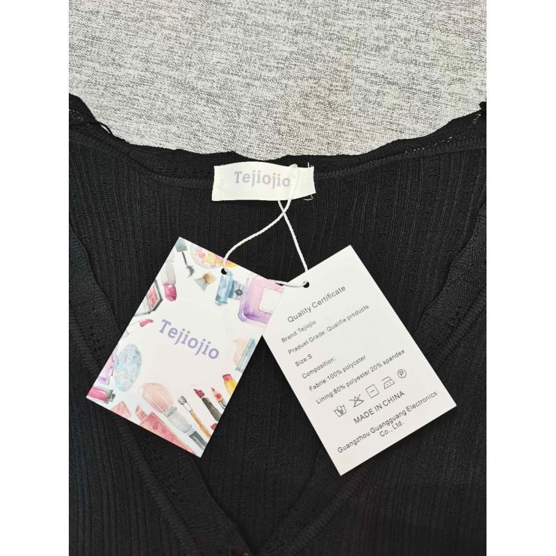 Tejiojio Women's Long-Sleeve  Woven Blouse Knit Top Black