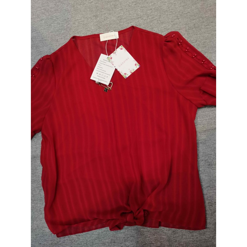 Odeerbi Women's V-Neck Short Sleeve Summer Cotton Blouse Shirt Red
