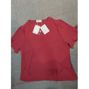 hgsbede Women's V Neck Short Sleeve Tops Blouse Shirt Red