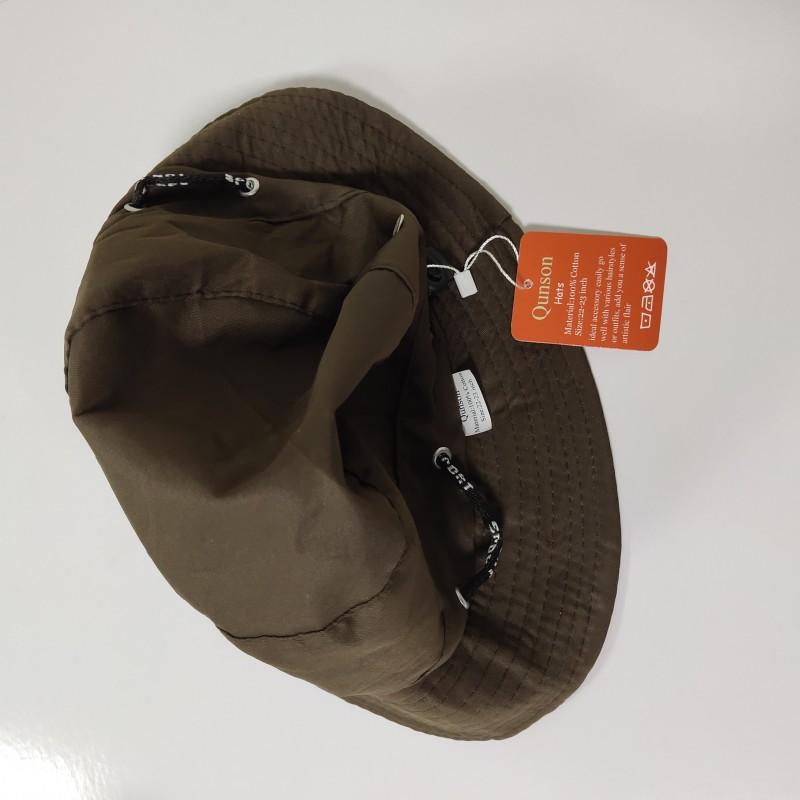 Qunson Bucket Hat 100% Cotton Casual Outdoor Sport Travel Fishing Sun Cap Brown