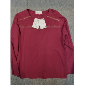 Hinvhai Women's Tops Long Sleeve T Shirt Blouses Red