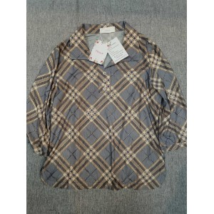 Thsue Women's Long Sleeve Plaid Button Down T Shirt Blouses