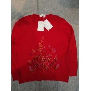 Tiehua Women's Floral Print Crewneck Sweaters Red