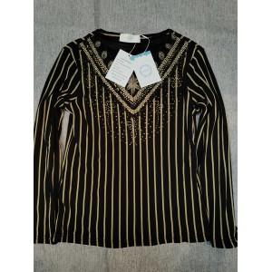 WHLBF Women's  Tops V Neck Long Sleeve Striped Blouse Top Black