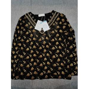 Floleo Women's Floral Print Tops Long Sleeve T-Shirt Blouses Black