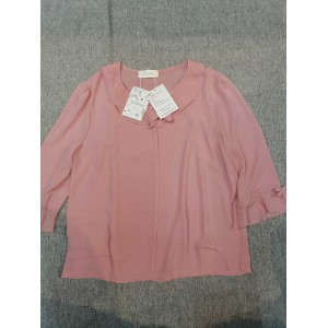 Guldnds Women's Tops Long Sleeve T Shirt Ribbed Shirts Loose Fit Tunic Blouses with Button Pink