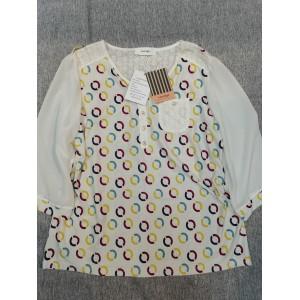 Leodye Dots Print Women's T Shirt Blouses White