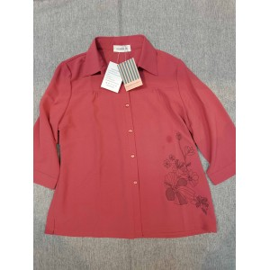 Summitglory Women's Tops Long Sleeve Button Down Blouse Red