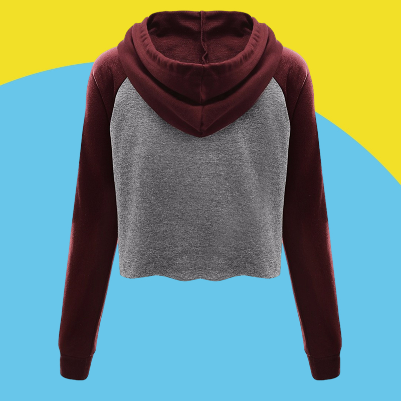 Amazon express Europe and the United States new color contrast casual hooded sweater women's autumn and winter wear loose thin jacket