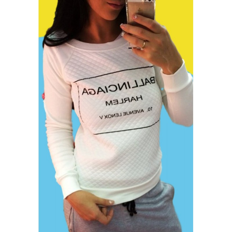 Amazon express Europe and America new leisure letter printed sweater women's autumn and winter wear Plush slim fitting crew neck top