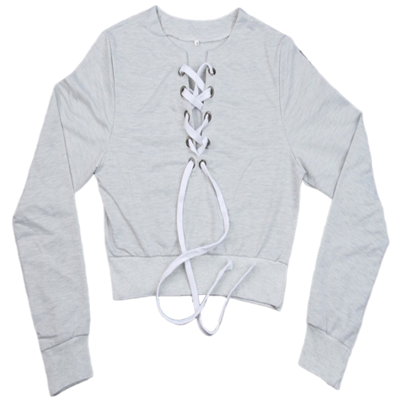 Amazon express Europe and the United States new tie rope short open navel sweater women's autumn and winter long sleeve round neck sexy top