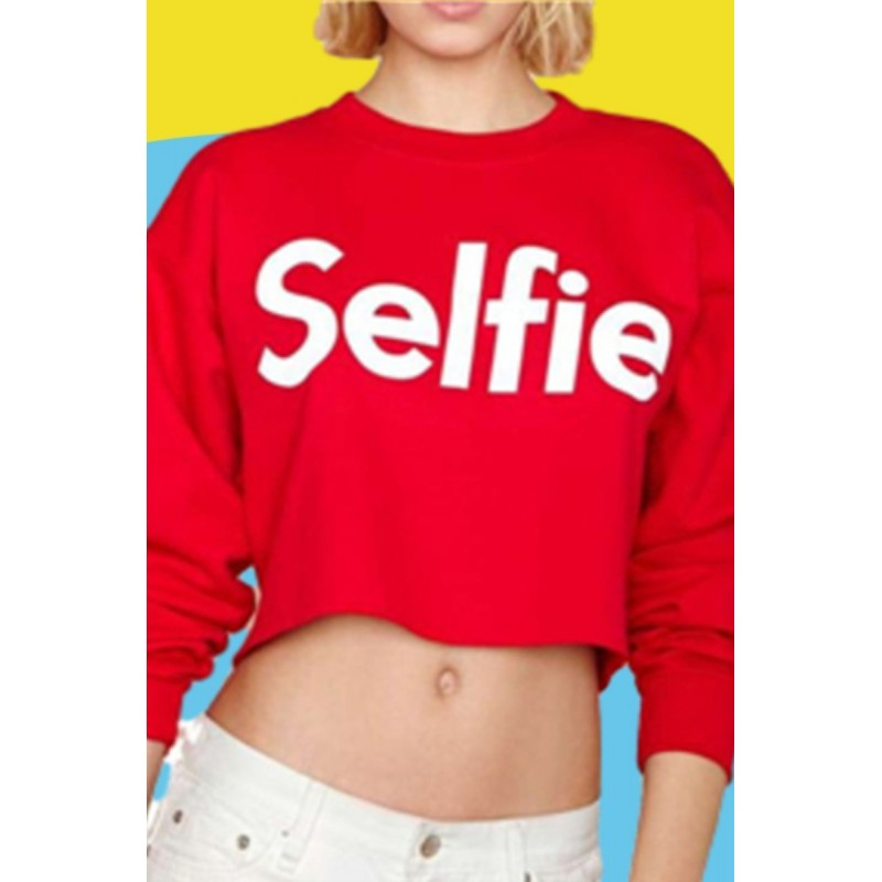 Amazon Express Express European and American letter printed Casual Short sweater women's autumn fleece slim fit top