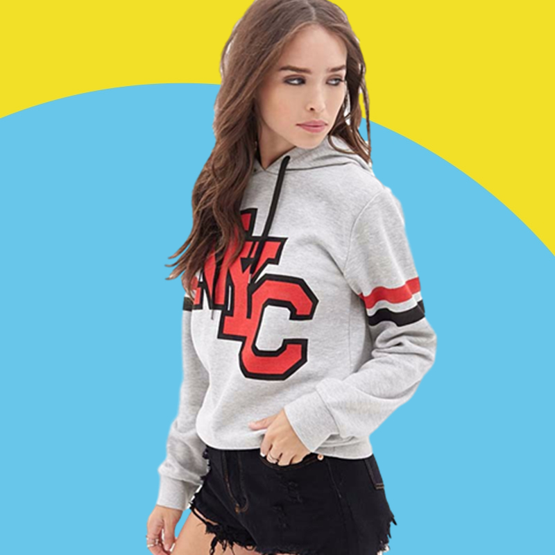 Amazon express European and American letter printed Hoodie women's autumn winter Plush loose drawstring casual top