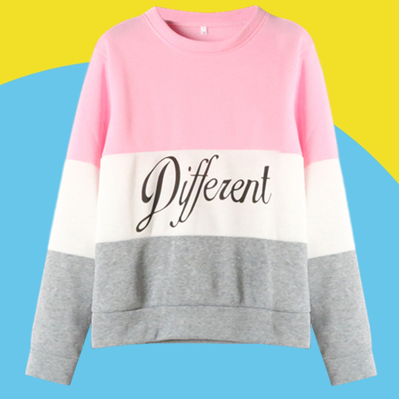Amazon express Europe and the United States new letter printing color matching sweater women's autumn and winter wear Plush casual round neck top