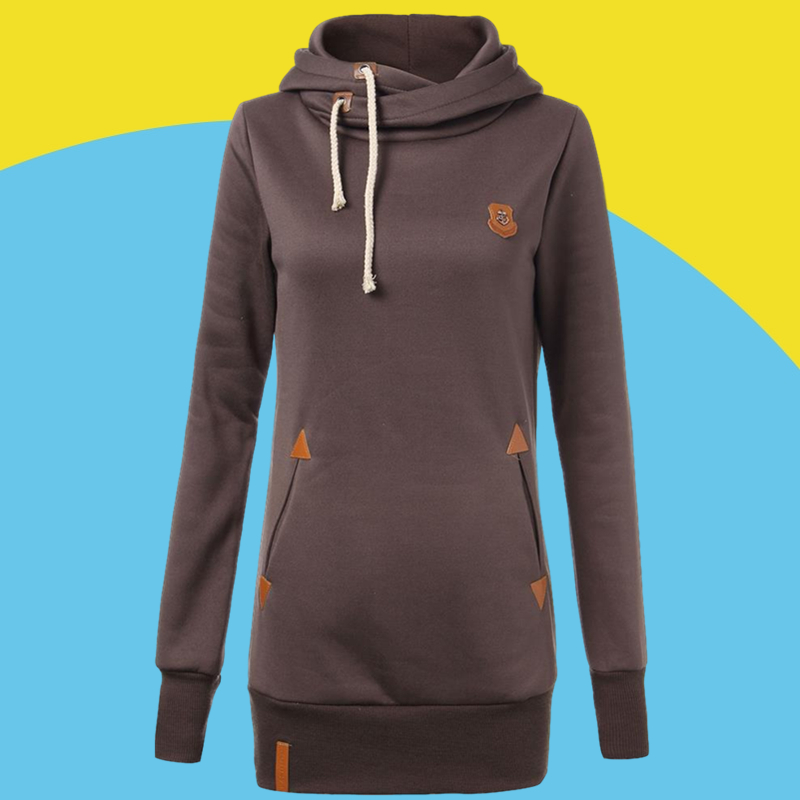 Amazon sells European and American new casual badge hooded sweater women's autumn and winter wear Plush drawstring slim top