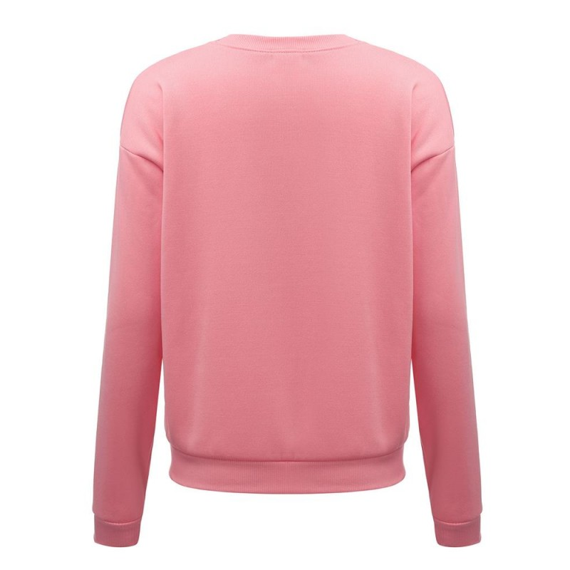 Amazon express Europe and America new letter printed pink sweater women's autumn and winter velvet casual round neck top