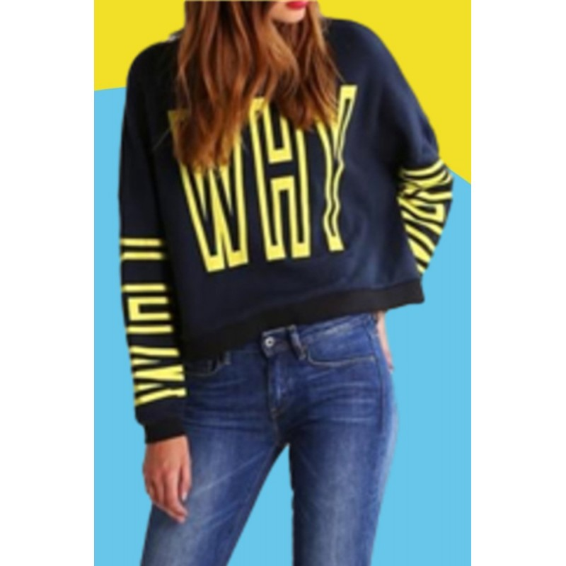 Amazon express European and American sports casual letter printed sweater women's autumn winter Plush crew neck top